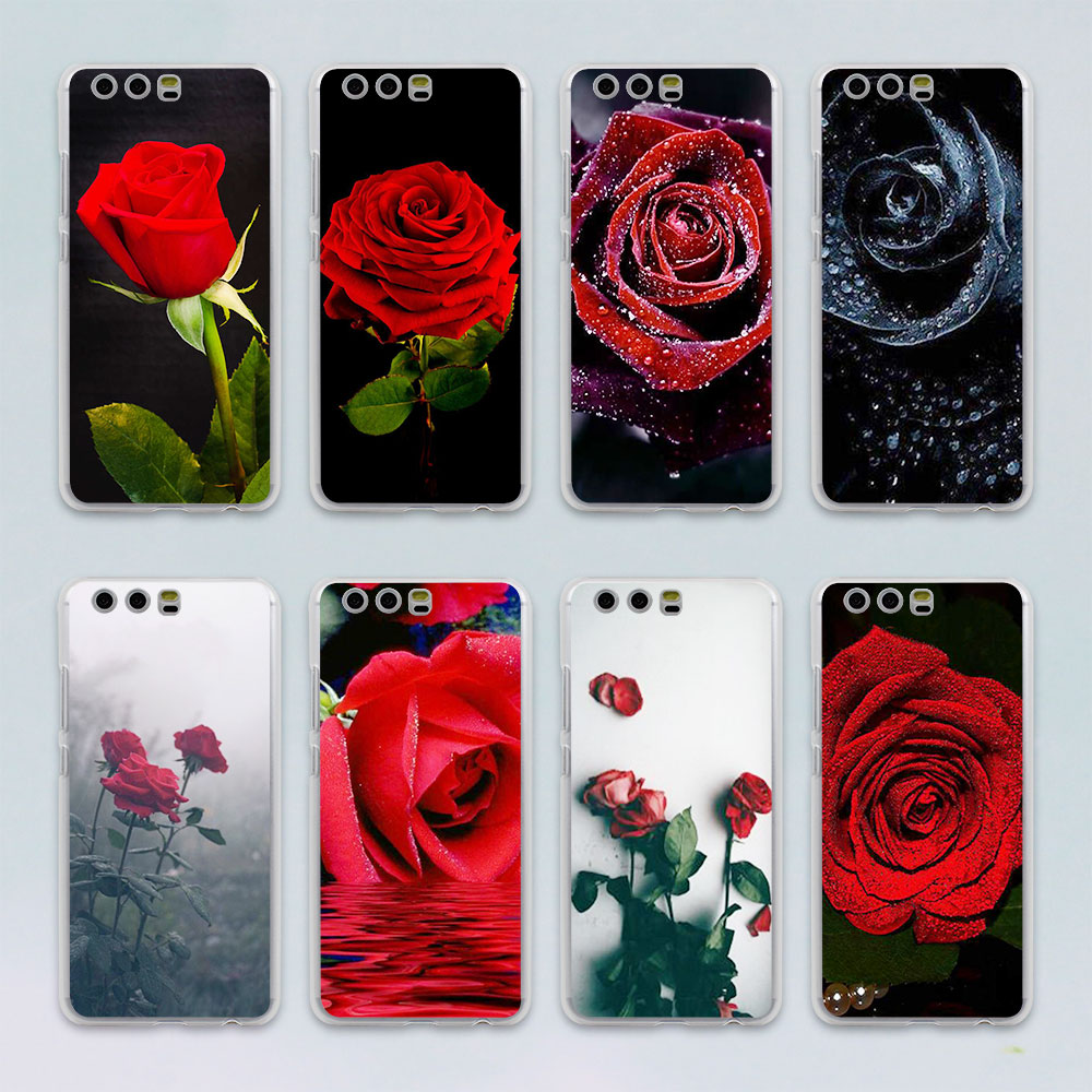 Red Rose Flowers HD Wallpaper design transparent clear hard case cover for Huawei P10 P9 Plus P8 P9 lite Mate S 9 8