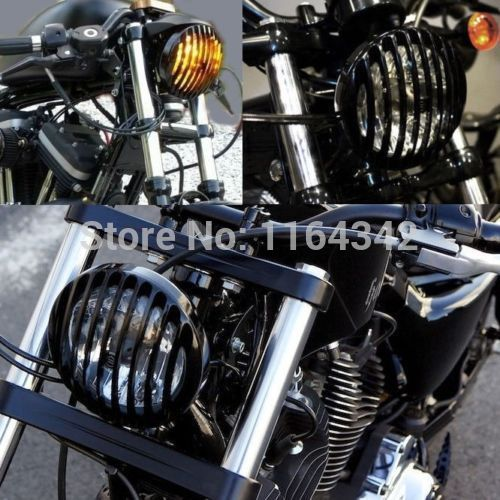 Free shipping Metal Aluminum Black Headlamps Headlight Grill Cover For Harley Chopper Motorcycles Custom chopper