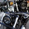 Preto Moto Bicicleta Bala Luz Dos Faróis de Halogéneo Lâmpada Grill Capa Para Harley Custom Chopper