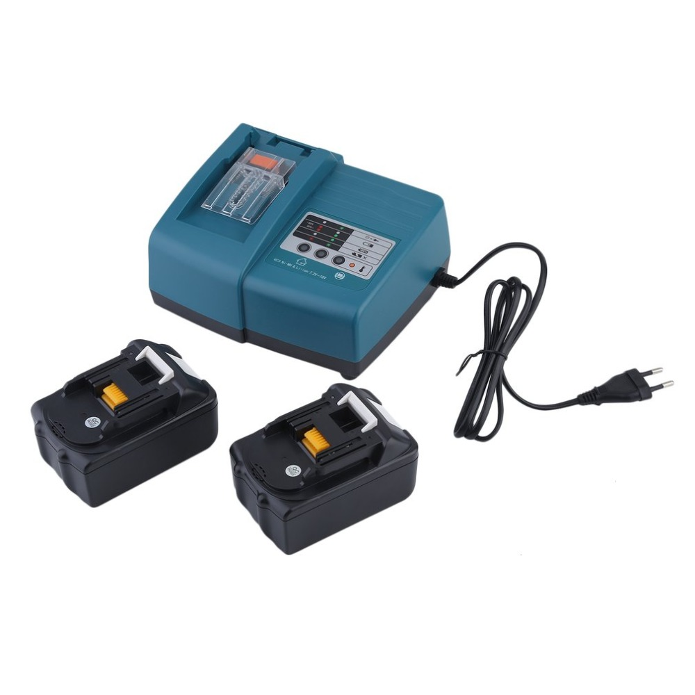 DC18RA Battery Charger For Makita + 2pcs BL1840 4.0AH 4000mAh Replacement Lithium-Ion Battery Power Tool drop shipping replacement li ion battery charger power tools lithium ion battery charger for milwaukee m12 m18 electric screwdriver ac110 230v