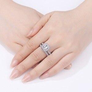 Image 4 - Newshe sólida plata 925 anillos de boda para mujeres 2,9 Ct corte cojín AAA CZ anillo de compromiso conjunto nupcial