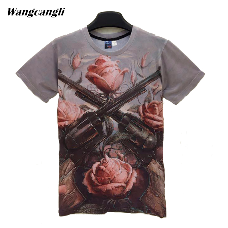 Wangcangli fitness 3D Rose and Gun print short T-shirt summer bodybuilding high elastic O-neck fashion short sleeve T-shirt 5XL