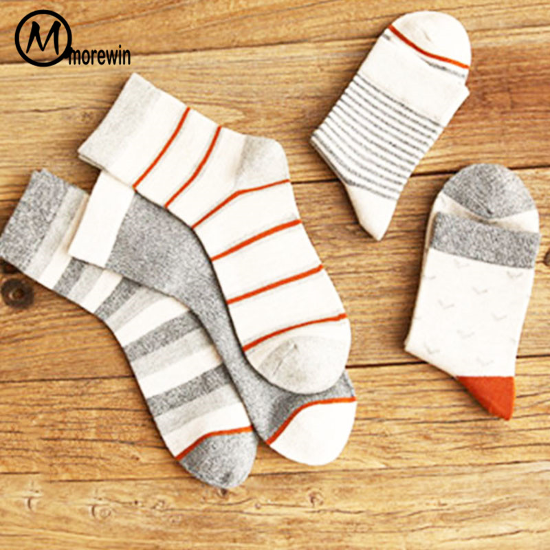5Pairs/Lot High Quality Fashion Men Stripes Crew Socks Cotton Male Breathable Casual Dress Socks Skateboard Hip Hop Sock Morewin