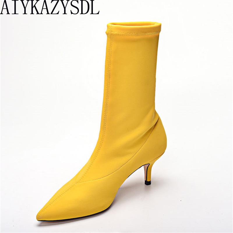 AIYKAZYSDL 2018 Women Stretch Elastic Sock Boots Kitten Heel High Boots Pointed Toe Slip On Ankle Boots Woman Pumps Stilettos