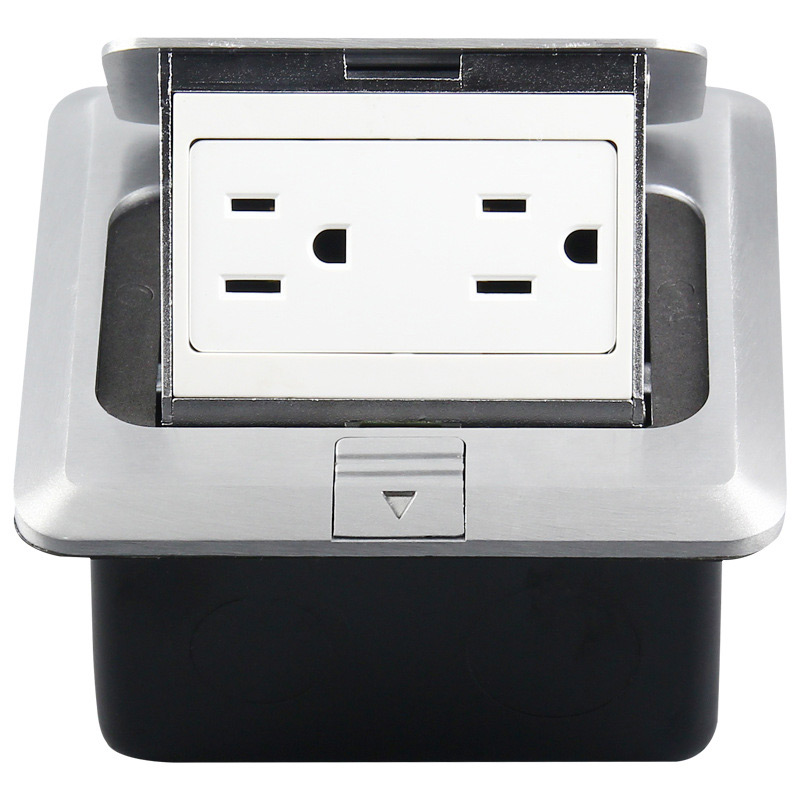 British standard hidden bullet type computer floor power outlet aluminum alloy network English ground socket 125V-15A 120-04 british mk british unit power supply socket metal 13a power outlet british standard unit socket