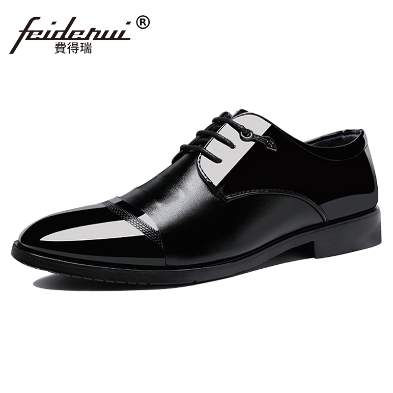 Big Size 37-48 Fashion Designer Patent Leather Mens Business Footwear Round Toe Lace up Formal Dress Man Derby Shoes CMS12