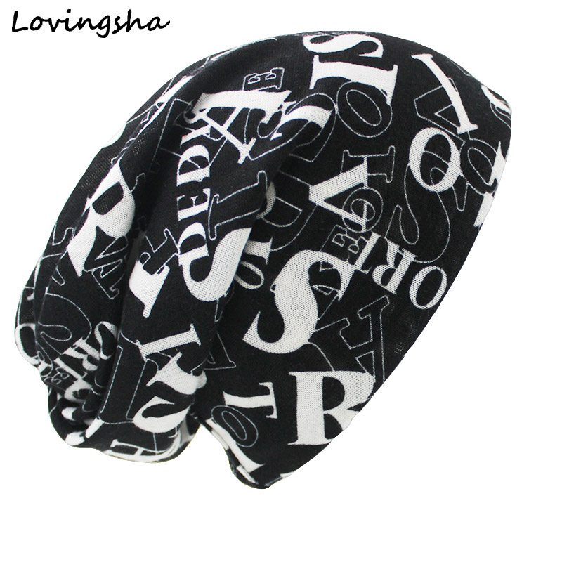 LOVINGSHA Brand Autumn Winter Hats For Women Letter Design Hip-hop Ladies hat   Skullies   And   Beanies   Men Hat Unisex HT023