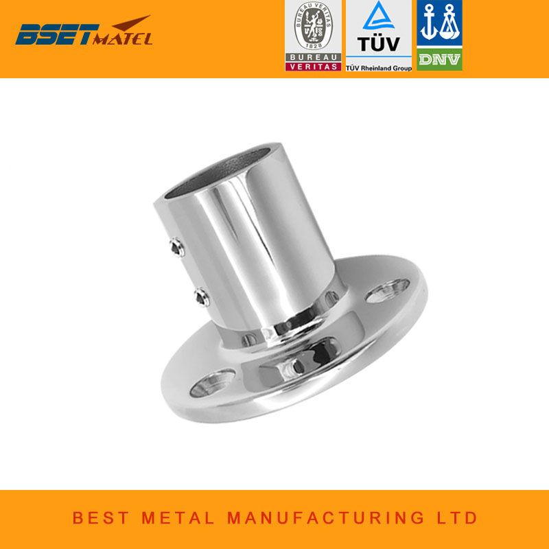 316 Stainless Steel Boat Hand Rail Fittings 90° 1 inch Round Stanchion Base