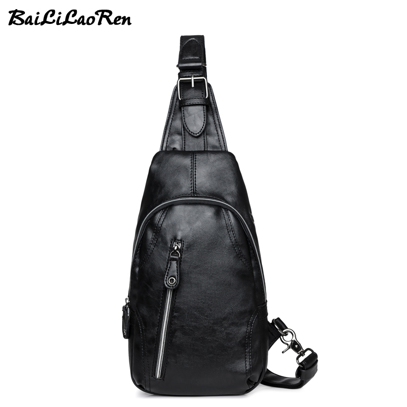 BaiLiLaoRen Brand Men Chest Pack Single Shoulder Strap Back Bags High Quality Leather Crossbody Bags Casual Travel Man Chest Bag