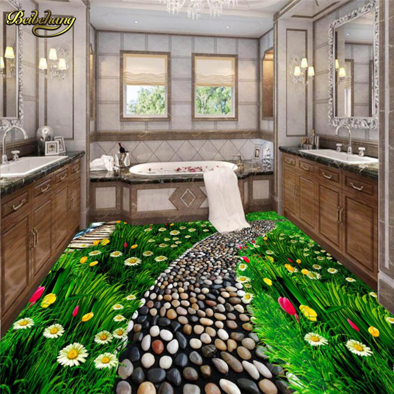 Beibehang Flowers Grassland Custom Floor Tiles Wallpaper Waterproof For  Bathroom 3D Landscape Wall Papers Wall Coverings