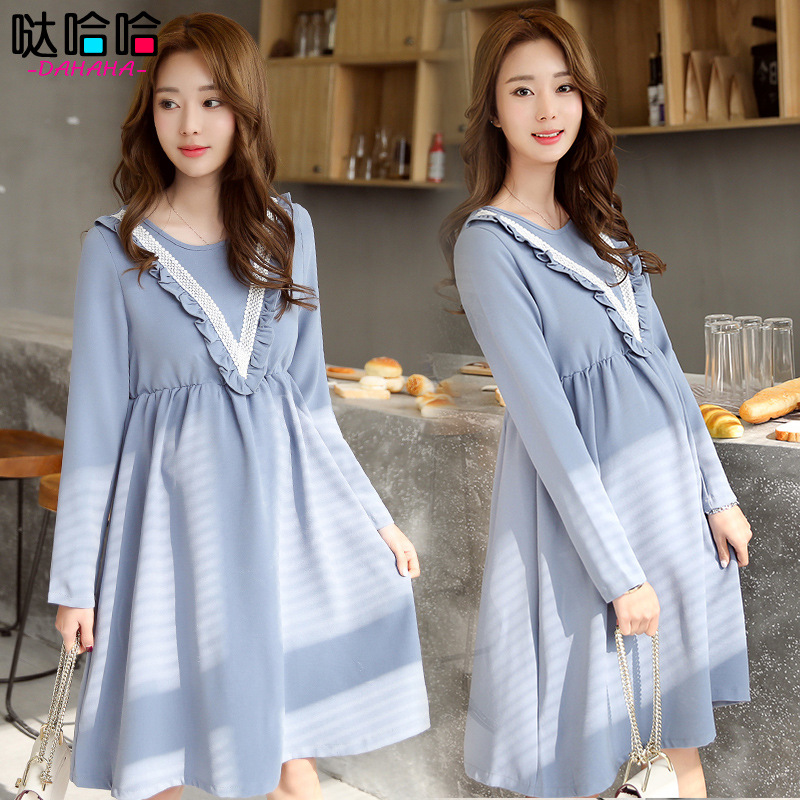 Autumn Spring Pregnancy Clothes Cotton Maternity Dresses/Girls Ladies Long Blouses Brand costumes for pregnant women Lifestyle 2016 spring new trending comfortable pregnancy women blouses micro flower dotting printed casual shirts maternity clothes 1062