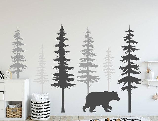 Berçário decalques de parede grande pinheiro com urso parede mural vinil adesivos berçário árvore arte natureza casa deco escandinavo lr53