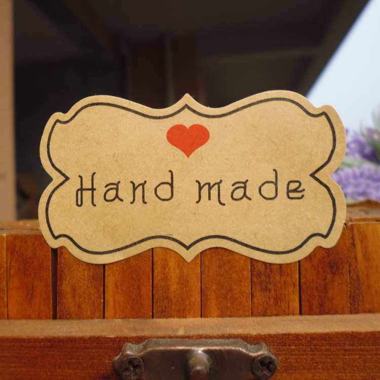 120Pcs Flower Edge Hand Made Heart Handmade Cake Packaging Sealing Label Kraft Sticker Baking DIY Work Gift Box Stickers M1050