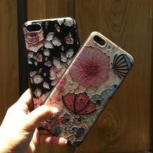 Case pour iphone 7 plus couverture renforcer 3d roses fleur stéréo relief peinture tpu souple retour couvre pour iphone 6s plus case