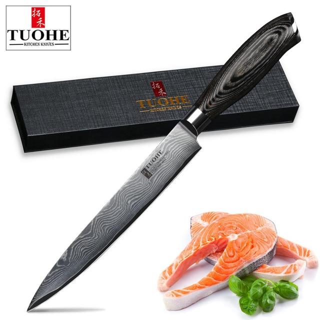 Tuohe 8 Inch Damascus Cleaver Knife Japanese Chef Knife Sashimi Sushi Meat Fillet Knives Kitchen Co Ng Tool Pwood Handle