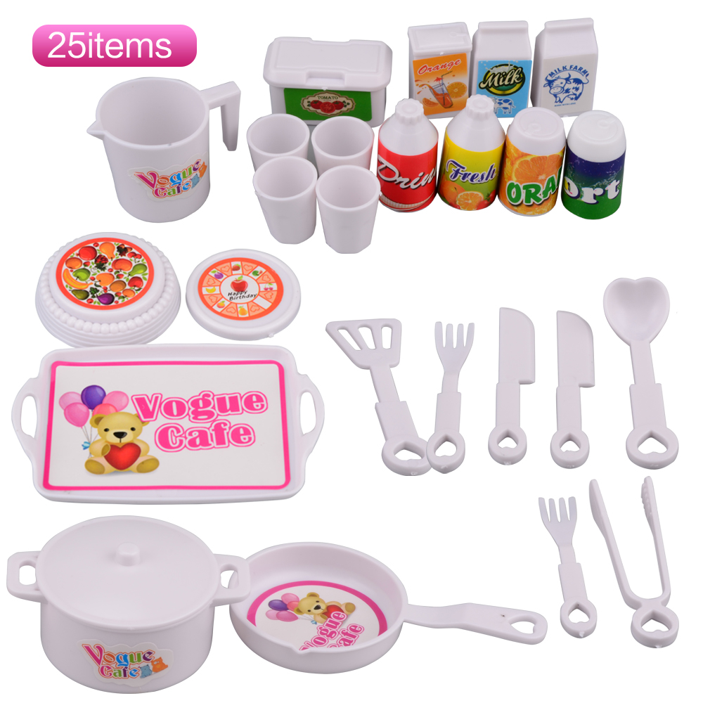 SHENGBOAO 25 pcs Plastic Dinner Set for Barbie Doll Educational Classic Toy DIY Children Kids Baby Pretend Play Kitchen Food Toy стоимость