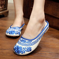 Chinese traditional blue and white porcelain embroider flat shoes with little wedges round toe cotton fabric house slippers