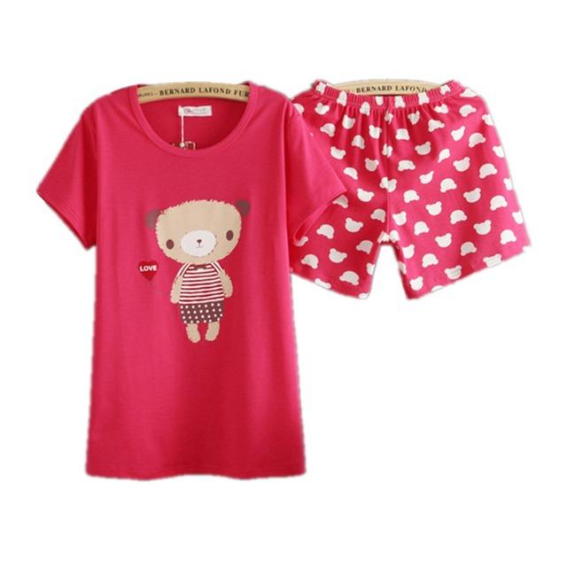 DOUBLA Pijamas de Manga Corta de Algodón Lindo Oso de Impresión 2 Unidades para Las Mujeres 2015 Nueva Maiden Feminino Pijama de Dormir Un Tamaño
