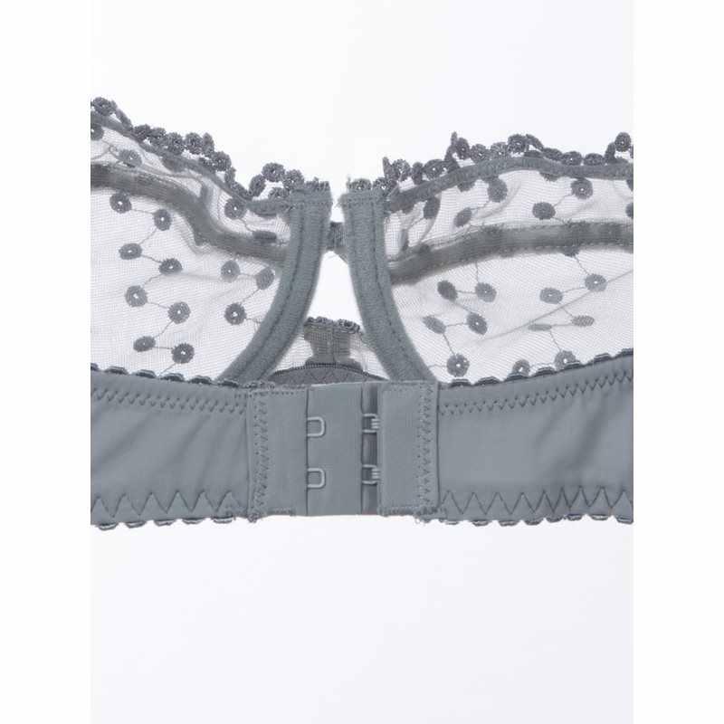 Plus Size bras A B C D Wave Point Cup sexy lace bra set women underwear grey embroidery Bow lingerie sets