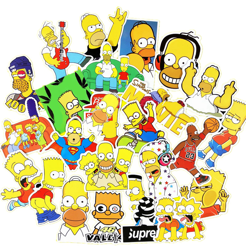25 Pcs Simpson Cartoon Waterproof Stickers For Laptop Car Styling Phone Luggage Bike Motorcycle Wall Decal Skateboard Stickers bevle 50pcs tide brand stickers for laptop car styling phone luggage bike motorcycle mixed cartoon pvc waterproof sticker