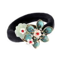 Hair Clip Accessories Chinese Style Vintage Flower Bridal Wedding Head Rubber Band Pendant Gift Elasticity Charm Women