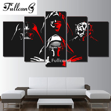 FULLCANG diamond painting 5 pcs full embroidery fighter portrait square mosaic with diamonds E1236