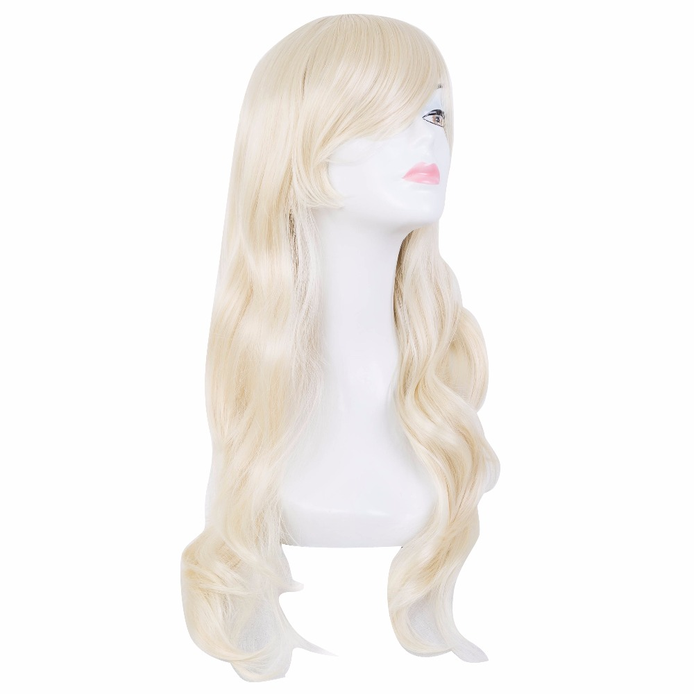 Fei-show Synthetic Heat Resistant Medium Yellow Blonde Wavy Wig Inclined Bangs Hair Costume Cosplay Carnival Halloween Hairpiece Synthetic None-lacewigs Hair Extensions & Wigs