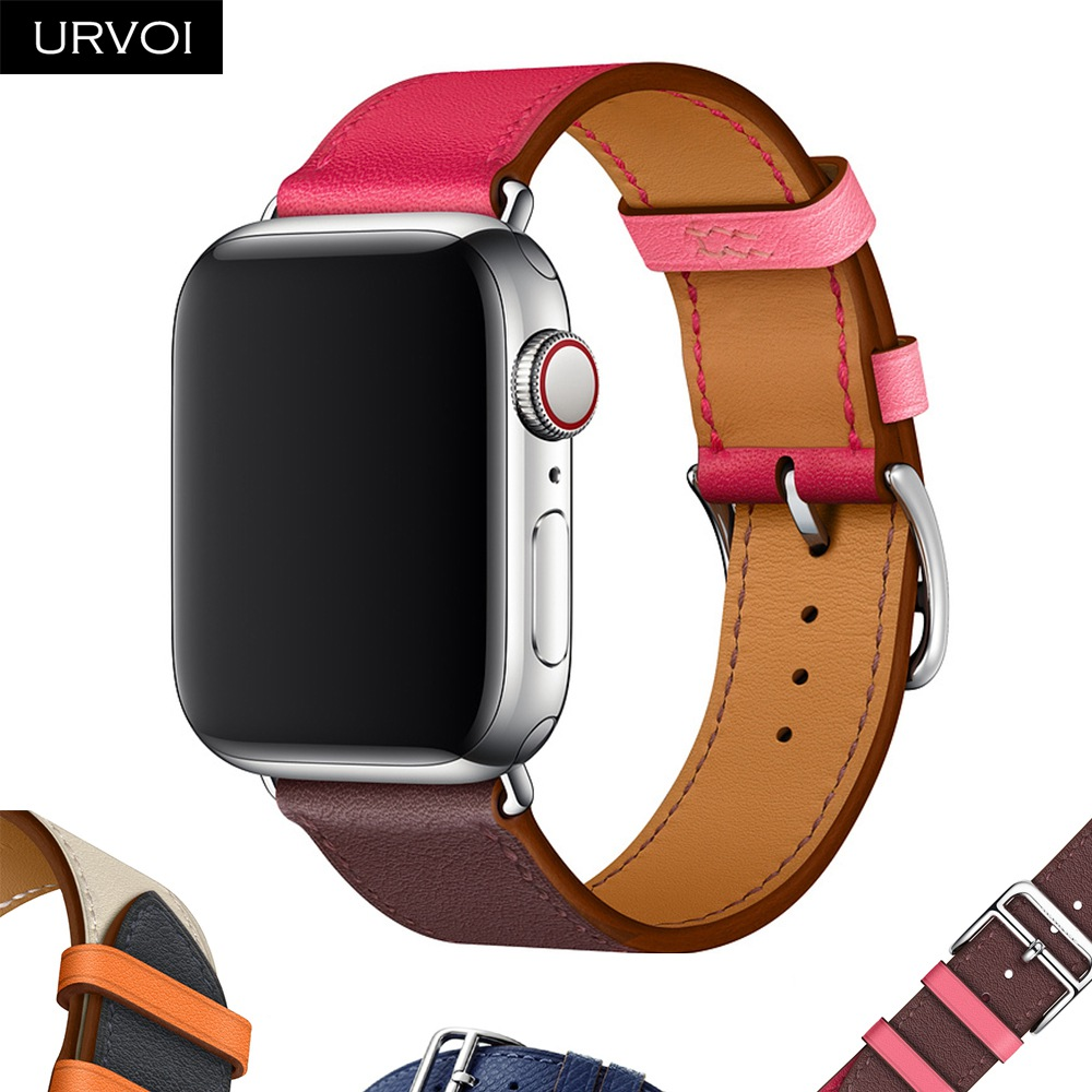 URVOI Single Tour strap for apple watch Swift Leather band for iWatch series 4 3/2/1 wrist classic design Handmade 2018 new urvoi deployment buckle band for apple watch series 3 2 1 strap for iwatch belt single tour for hermes watch band swift leather