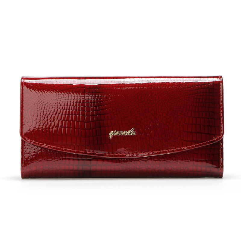 Multi Color Women Cow Patent leather Hasp Coin Purse ladies Long Wallet Card Holders bag women pocket female portfolio Feminina maihui ladies cowhide long genuine leather wallet women with coin pocket card holder wallet national hasp purse note compartment