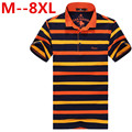 plus size 8XL 6XL 5XL 4XL polos 2016 New Men's Fashion Men Cotton round collar Short Striped Shirt  Large free delivery