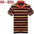 plus size 8XL 6XL 5XL 4XL polos 2016 New Men's Fashion Men Cotton round collar Short Striped Shirt  Large free delivery