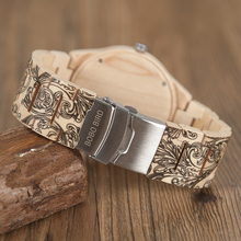 2017 BOBO BIRD Wood Watch Men Luxury Handmade Japan Move' 2035 Wood Band Quartz Wooden Band Writ Watch Male Relogio C-O07