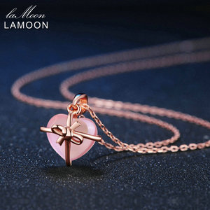 Image 3 - LAMOON 925 Sterling Silver Necklace For Women Heart Rose Quartz Gemstone Necklace 18K Rose Gold Plated Fine Jewelry LMNI016