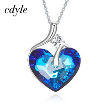 Cdyle Embellished with crystal Pendant AB Color Blue Heart Shaped Wedding Party Fashion Jewelry Lady Gift(China)