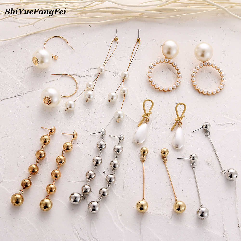 2019 Pearl Long Tassel Dangle Earrings For Women Drop Brincos Bijoux boucle d'oreille Fashion Jewelry Geometric Beads Earring