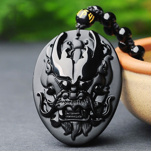 Natural Carved Obsidian Dragon Amulet