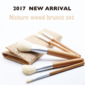 2017 NEW Nature wooden makeup Brushes  with  Bag Beautiful Traveling Makeup Brush set