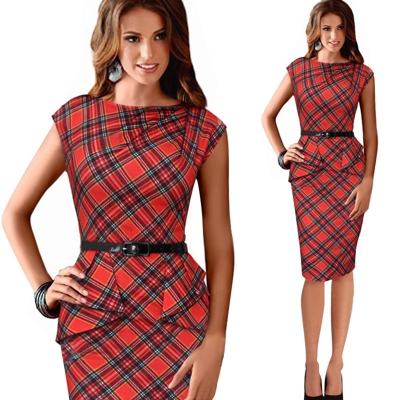 New Womens Vintage Elegant Belted font b Tartan b font Peplum Ruched Tunic Work Party sleeveless
