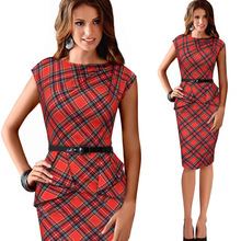 New Womens Vintage Elegant Belted Tartan Peplum Ruched Tunic Work Party sleeveless Pencil Sheath Bodycon Dress LYQ098