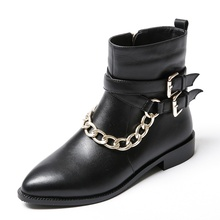 Ketten Korn Leathe rankle stiefel Spitz frau partei schuhe Kleber low heels 2,5 cm Gummi mode damen frau schuhe
