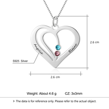 Carved Name Birthstone Heart Shape Necklace