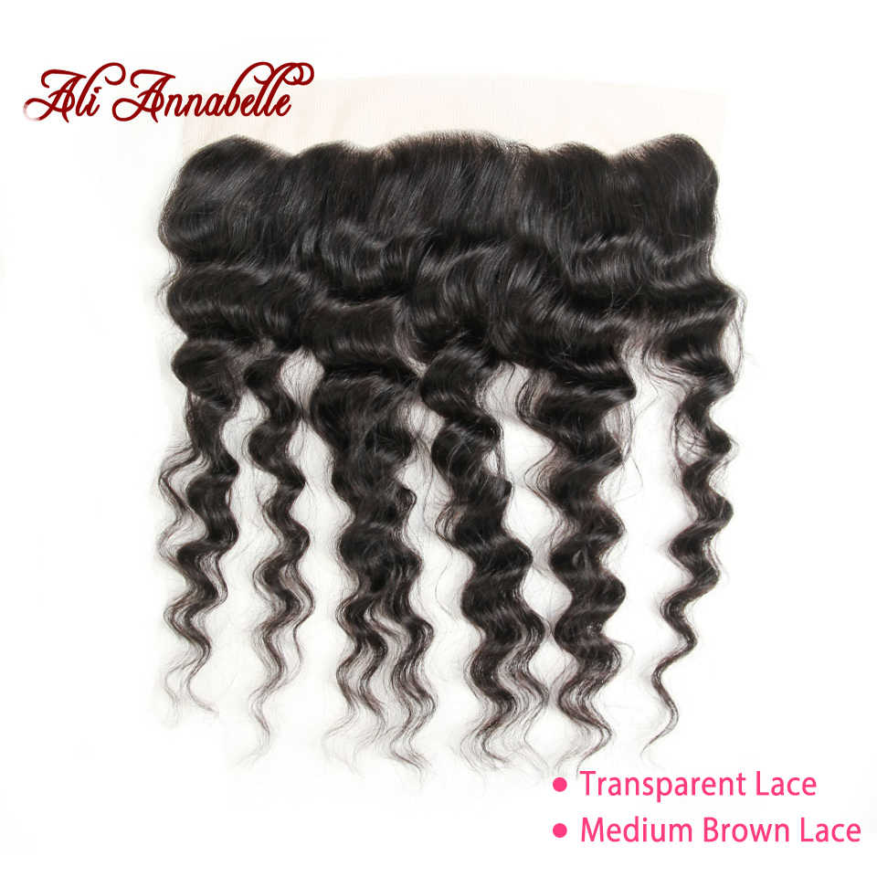 "ALI ANNABELLE HAIR Brazilain Loose Wave 13*4 Lace Frontal Remy Human Hair Transparent Lace Frontal/Medium Brown 130% 10""-20"""