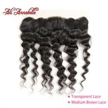 ALI ANNABELLE, бразильские волосы, свободные волны 13x4, фронтальные неповрежденные человеческие волосы, прозрачные кружевные фронтальные/средние коричневые 130% 10 20 дюймов