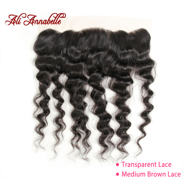 """ALI ANNABELLE HAIR Brazilain Loose Wave 13x4 Lace Frontal Remy Human Hair Transparent Lace Frontal/Medium Brown 130% 10"""" 20"""""""
