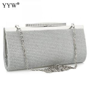 Image 1 - Evening Party Bags Clutch Bag crossbody bag Fashion Pu Leather Rhinestone Bridal Purse Women female chain wedding bag