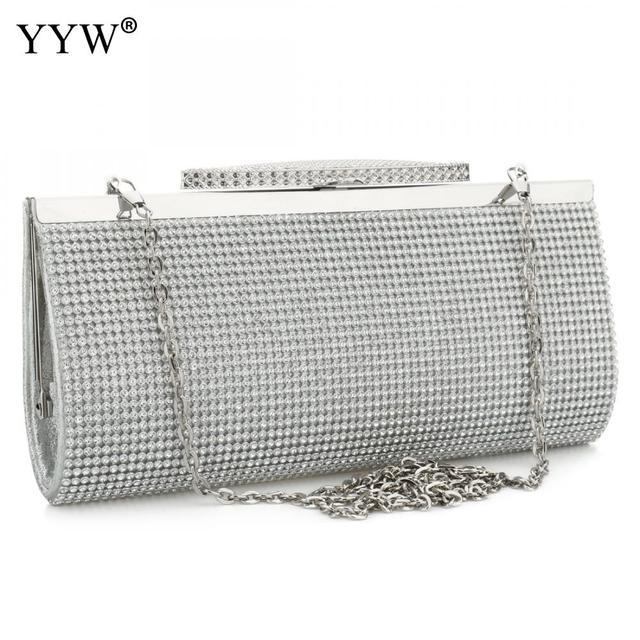 Evening Party Bags Clutch Bag crossbody bag Fashion Pu Leather Rhinestone Bridal Purse Women female chain wedding bag
