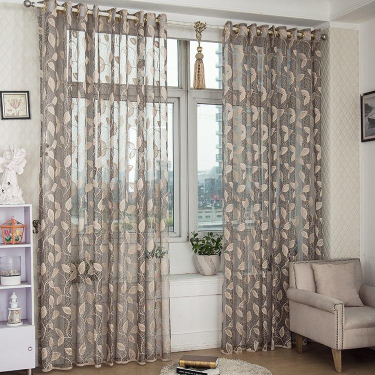 hot sale grey leaves jacquard transparent sheer home room door window screening drape hook style day