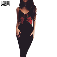 Laisiyi Flower Embroidery Long Dress V Neck Women Sexy Black A Line Dresses Retro Red Flower