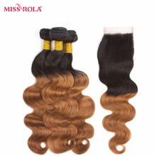 Miss Rola Hair Mongolian Body Wave Hair Weaving 3 Bundles  With Closure #T1B/30 Color  100% Human Hair  Non-Remy Hair Extensions