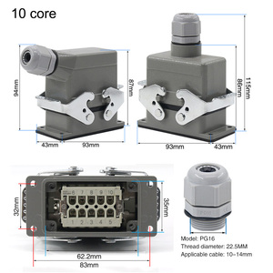 Image 4 - Industrial rectangular heavy duty connector hdc he 4/6/10/16/20/24/32/48 core 16A waterproof aviation plug top and side